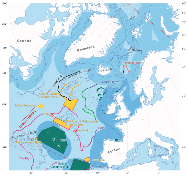 Figure 1. Marine protected areas beyond the 200 nautical mile (nm) zones of coastal States the North-East Atlantic as designated by OSPAR 2010 (in yellow). MPAs where the seafloor is designated under national legislation are framed in orange. Accordingly, the Charlie-Gibbs North area is outlined in orange. The proposed Reykjanes Ridge MPA is only stippled in orange.